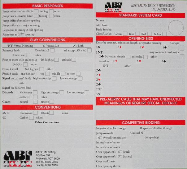 Standard ABF System Card